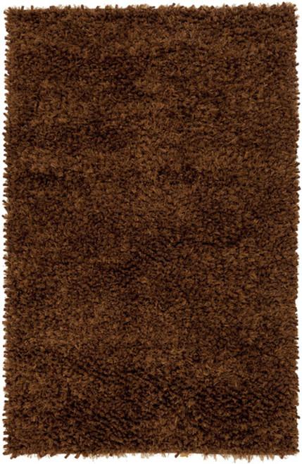 8' x 10' Chocolate Brown Contemporary Hand Woven Rectangular Wool Area throw Rug - IMAGE 1