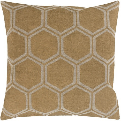 """18"""" Gold and Brown Contemporary Hexagons Square Throw Pillow - Down Filler - IMAGE 1"""