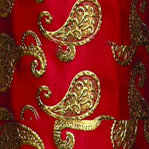 "Red and Gold Paisley Wired Craft Ribbon 6"" x 20 Yards - IMAGE 1"