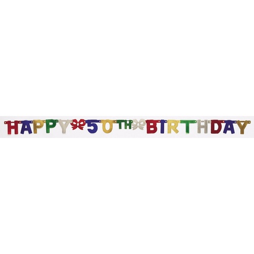 """Club Pack of 12 Multi-Colored """"Happy 50th Birthday"""" Small Jointed Party Banners 75"""" - IMAGE 1"""