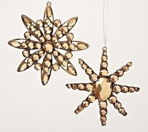 "5.5"" Brown Jeweled Diamond Gem Snowflake Christmas Ornament - IMAGE 1"