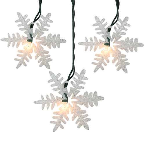 10-Count Clear and Silver Glitter Drenched Snowflake Christmas Light Set, 9ft Green Wire - IMAGE 1