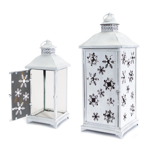Set of 2 Large White Cut-Out Snowflake All-Weather Iron and Glass Christmas Candle Lanterns - IMAGE 1