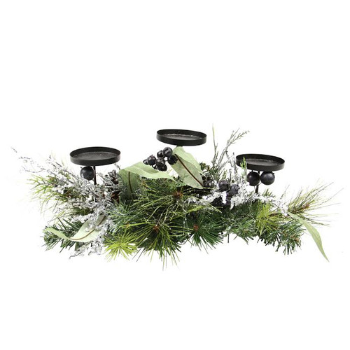 "22"" Green and Silver Mixed Pine with Blueberries Christmas Candle Holder Centerpiece - IMAGE 1"