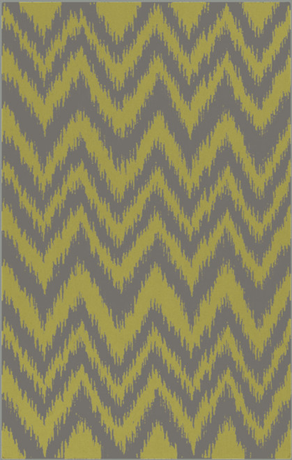 5' x 8' Chevron Shock Wave Green and Gray Hand Woven Rectangular Wool Area Throw Rug - IMAGE 1