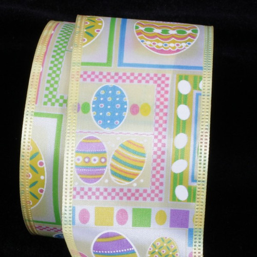 """Pink and Blue Easter Eggs Print Wired Craft Ribbon 2.5"""" x 40 Yards - IMAGE 1"""