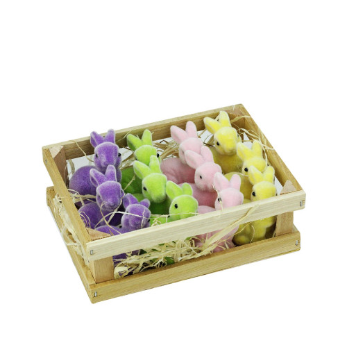 """Club Pack of 12 Purple Easter Pastel Bunny Rabbits in Crate Tabletop Decor 6"""" - IMAGE 1"""