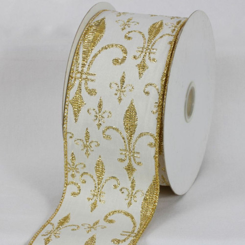 """White and Gold Fleur De Lis Wired Edged Craft Ribbon 3"""" x 20 Yards - IMAGE 1"""
