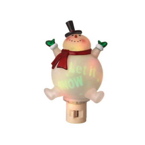 "6.5"" Clear and Red ""Let It SNOW"" Snowman Projection Night Light - IMAGE 1"