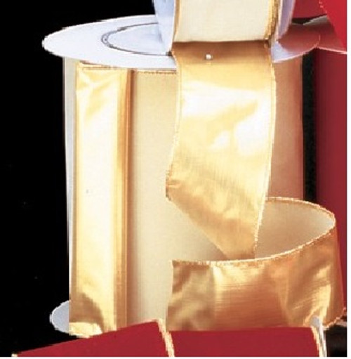 "Gold and Ivory Solid Wired Craft Ribbon 3"" x 20 Yards - IMAGE 1"