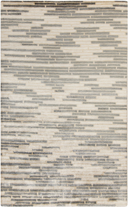 2' x 3' Gray and Beige Hand-Knotted Area Throw Rug - IMAGE 1