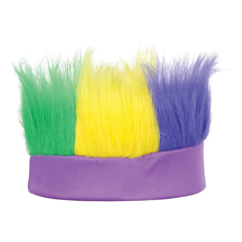 Club Pack of 12 Green Yellow and Purple Decorative Mardi Gras Party Hairy Headband Costume Accessory - IMAGE 1