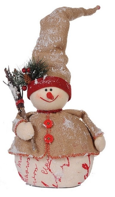 """20"""" Country Cabin Jolly Snowman with Twig Broom Christmas Table Top Decoration - IMAGE 1"""