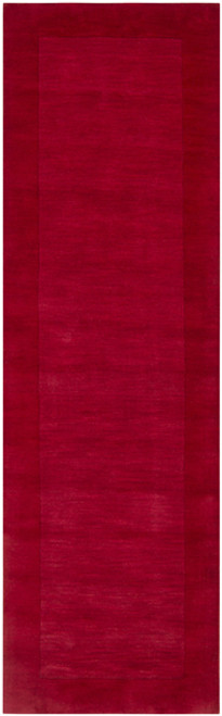 2.5' x 8' Solid Cherry Red Hand Loomed Rectangle Wool Area Throw Rug Runner - IMAGE 1
