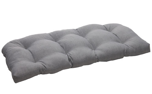 """44"""" Taupe Brown Reversible Outdoor Patio Tufted Wicker Loveseat Cushion - IMAGE 1"""