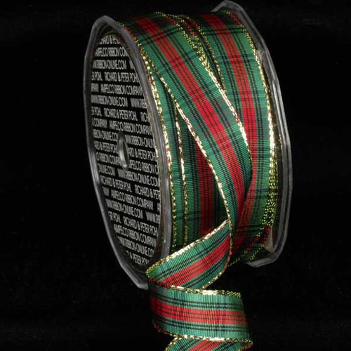"""Green and Red French Plaid Wired Craft Ribbon 0.5"""" x 54 Yards - IMAGE 1"""