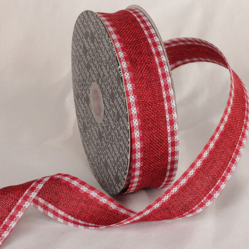"""Red and White Plaid Wired Craft Ribbon 1.5"""" x 40 Yards - IMAGE 1"""