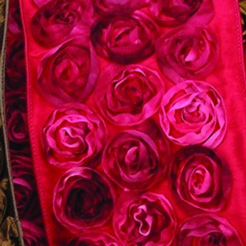 """Red Contemporary Roses Wired Craft Ribbon 4"""" x 10 Yards - IMAGE 1"""