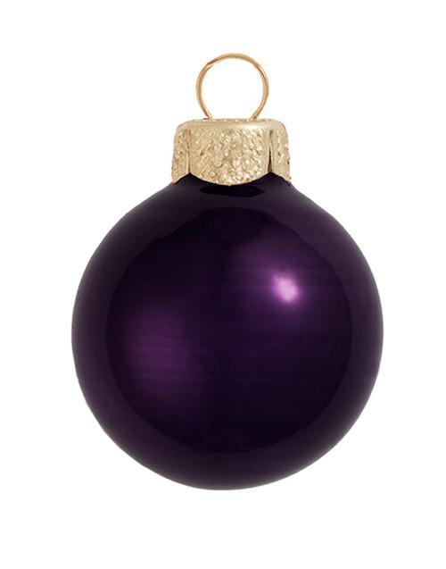 "12ct Purple Glass Pearl Christmas Ball Ornaments 2.75"" (65mm) - IMAGE 1"