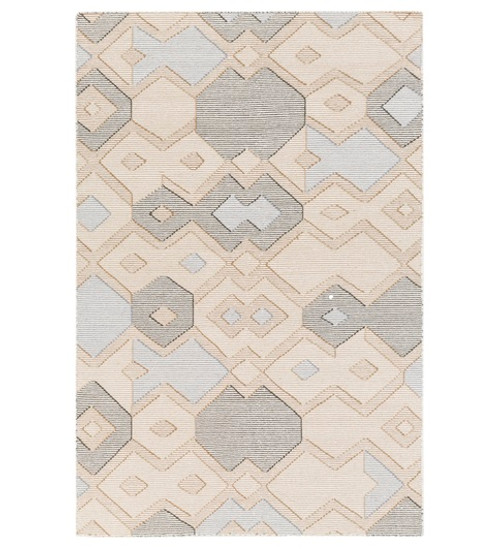 2' x 3' White and Blue Contemporary Hand Woven Rectangular Wool Area throw Rug - IMAGE 1