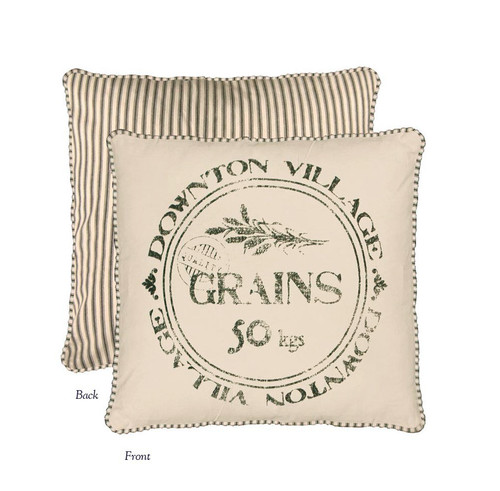 "18"" Beige and Green 'Downton Abbey Village Grains' Square Throw Pillow - IMAGE 1"