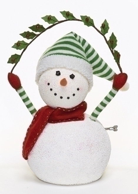 """17"""" White and Green Animated and Musical Snowman Christmas Figurine - IMAGE 1"""