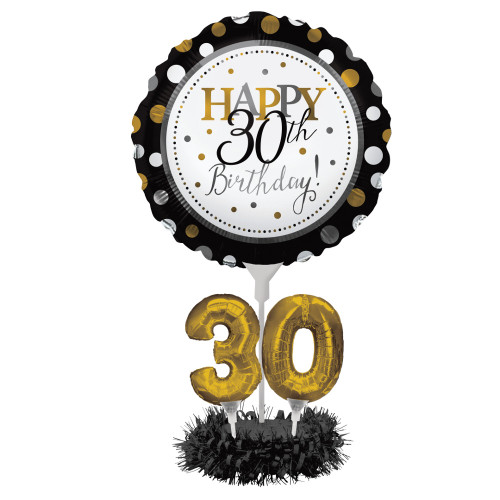 """Pack of 4 Black and Gold """"Happy 30th Birthday"""" Party Balloon Centerpiece Kit 24"""" - IMAGE 1"""