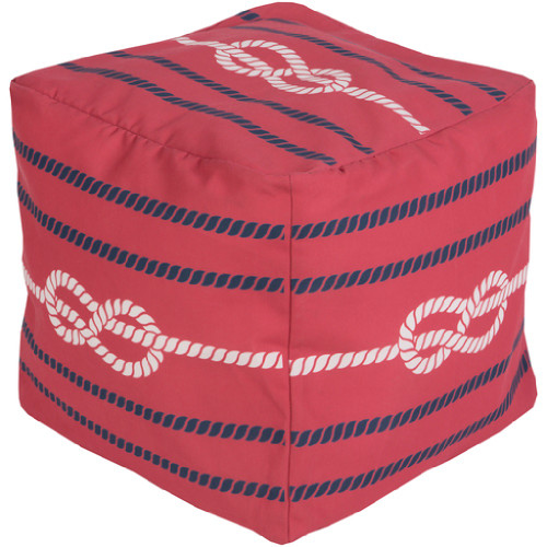 """18"""" Ruby Red, Cobalt Blue and Ivory Knotted Rope Square Outdoor Patio Pouf Ottoman - IMAGE 1"""