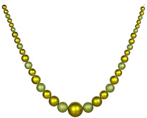 11' Kiwi Green Artificial Christmas Shatterproof Ball Garland - Unlit - IMAGE 1