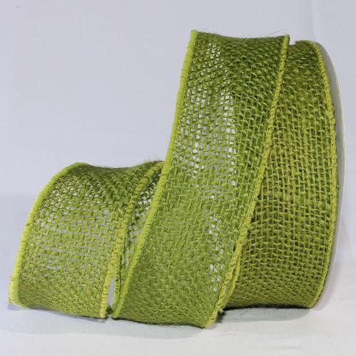 "Green Burlap Wired Craft Ribbon 2"" x 40 Yards - IMAGE 1"