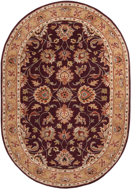 8' x 10' Green and Brown Contemporary Hand Tufted Floral Oval Wool Area Throw Rug - IMAGE 1