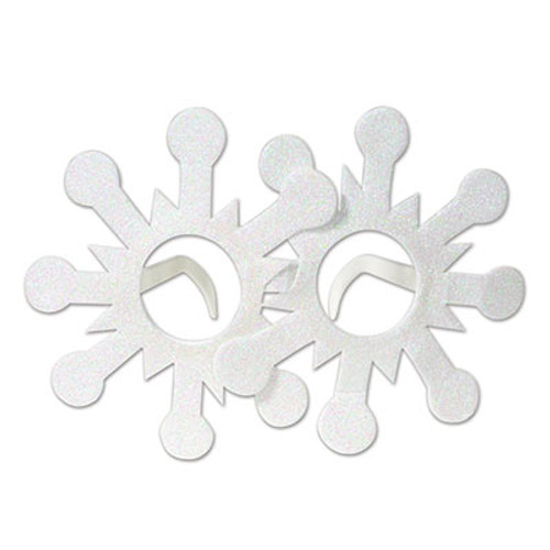 Club Pack of 12 White Glittered Snowflake Christmas Glasses - One Size - IMAGE 1