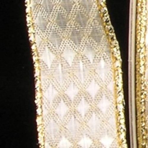 """Shimmering Gold Geometric Wire Edged Craft Ribbon 1"""" x 40 Yards - IMAGE 1"""