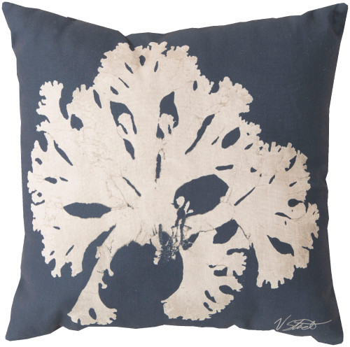 "20"" Blue and Beige Contemporary Arbol Square Throw Pillow Cover - IMAGE 1"