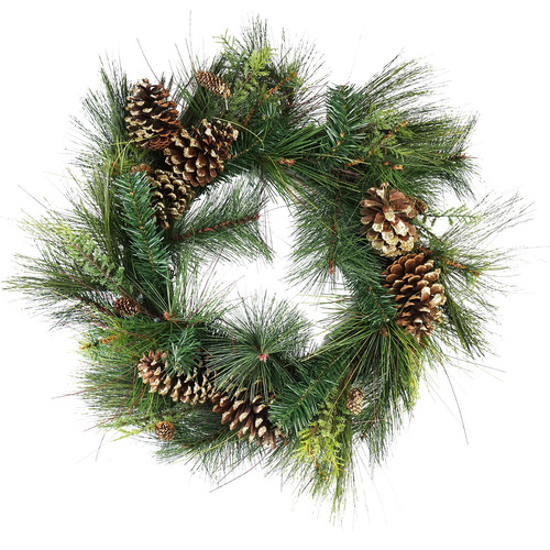 Artificial Mixed Pine with Pine Cones and Gold Glitter Christmas Wreath - 30 -Inch, Unlit - IMAGE 1