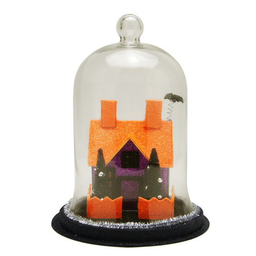"""9.75"""" Clear and Orange LED Spooky House with a Bat on the Roof Halloween Cloche - IMAGE 1"""