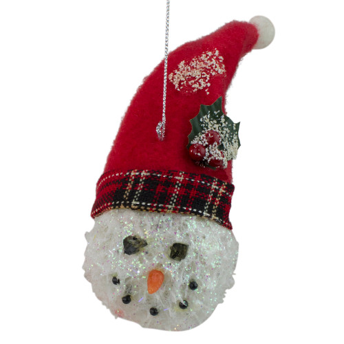 """5"""" Red and White Twas the Night Snowman Head with Plaid Hat Christmas Ornament - IMAGE 1"""