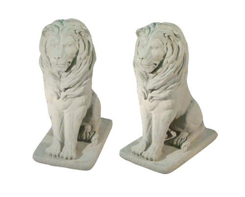 """Set of 2 Regal Sitting Lion Cast Stone Concrete Outdoor Garden Statues 36"""" - IMAGE 1"""