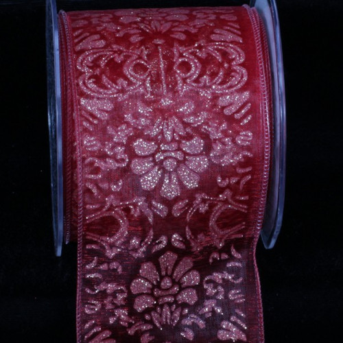 """Sheer Red and Gold Wired Craft Ribbon 2.75"""" x 20 Yards - IMAGE 1"""