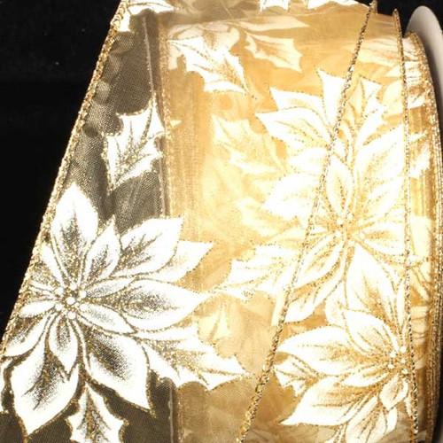 "Gold Elegant Poinsettia Wired Craft Ribbon 2.5"" x 40 Yards - IMAGE 1"
