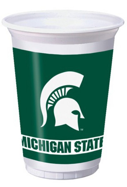 Club Pack of 96 NCAA Michigan State Spartans Disposable Plastic Drinking Party Tumbler Cups 20 oz. - IMAGE 1