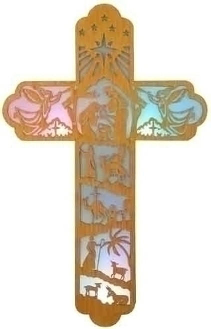 """22"""" LED Lighted Christmas Wall Cross with Nativity Woodcut Design - IMAGE 1"""