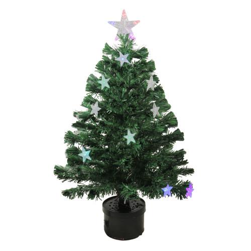 3' Pre-Lit Potted Color Changing Fiber Optic Artificial Christmas Tree - Multi Color LED Lights - IMAGE 1