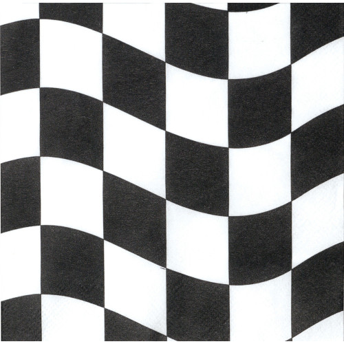 "Pack of 192 Black and White Checkered 2-Ply Lunch Napkins 6.5"" - IMAGE 1"