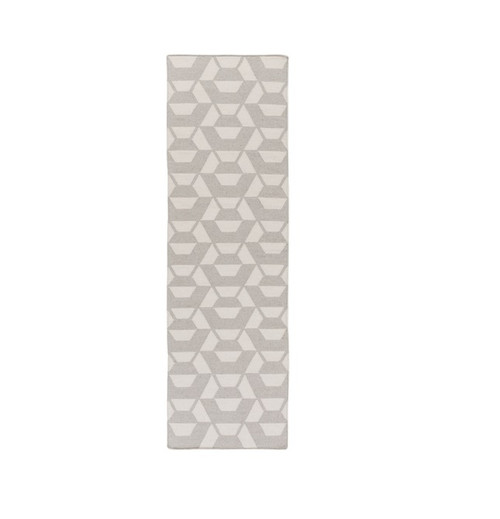 2.5' x 8' Polygon Alley Gray and Ivory Hand Woven Rectangular Area Throw Rug Runner - IMAGE 1