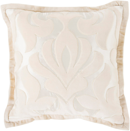 """20"""" Beige and White Contemporary Square Throw Pillow - IMAGE 1"""