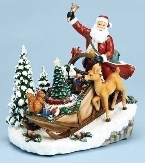 "9"" Red and Green Pre-Lit Musical Rotating Santa Claus in Sleigh on Hill Christmas Tabletop Decor - IMAGE 1"