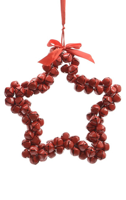 """14"""" Red Star Shaped Jingle Bell Wreath Christmas Ornament - IMAGE 1"""