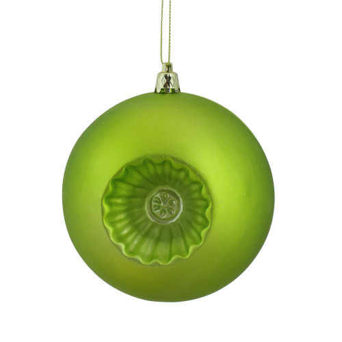"6ct Green Retro Reflector Matte Christmas Ball Ornaments 4"" (100mm) - IMAGE 1"