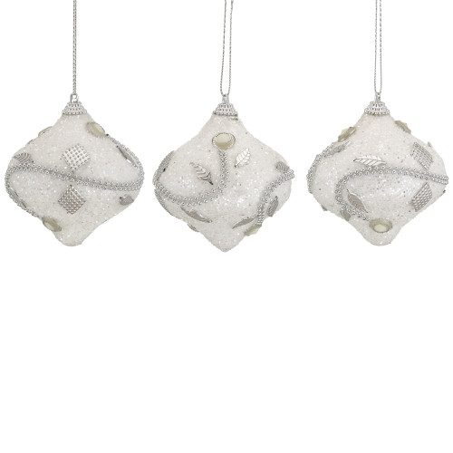 3ct Silver and White Beaded Onion Shatterproof Christmas Ornaments 3 - IMAGE 1